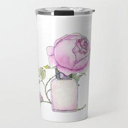Fragrance bottle with rose flower Travel Mug
