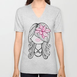 Pretty Hair Flower and Pearls Unisex V-Neck