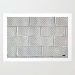 Background of white brick wall pattern texture. Great for graffiti inscriptions. Art Print