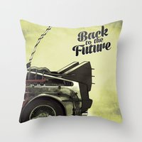 back to the future Throw Pillows featuring Back to the future by Duke.Doks