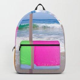 Sun umbrella n the sandy beach Backpack