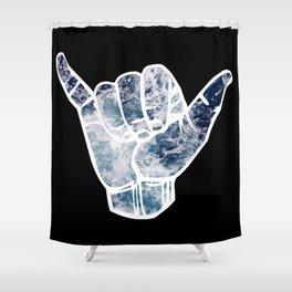 Blue Ocean Waves Hang Loose Shower Curtain