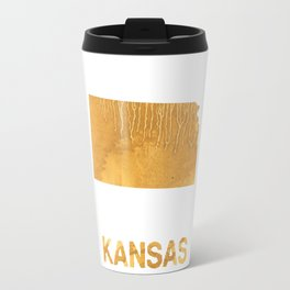 Kansas map outline Sandy brown clouded watercolor Travel Mug