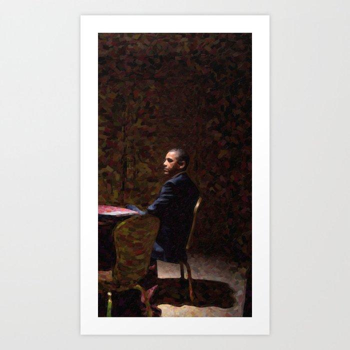 Abstract Portrait of President Barack Obama 13 Art Print