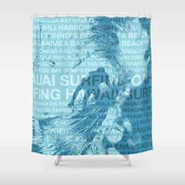 Surfing Hawaii, The Green Room, Hawaiian Surfing Design Shower Curtain