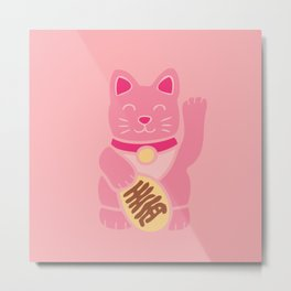 Lucky Cat in Pastel Pink Metal Print