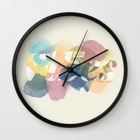 good vibes Wall Clocks featuring GOOD VIBES by Lasse Egholm