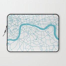 London White on Turquoise Street Map Laptop Sleeve