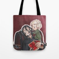 snape Tote Bags featuring Babysitting - Snape and Draco by CaptBexx
