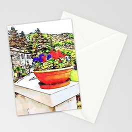 Fognano: view with flowerpot Stationery Cards