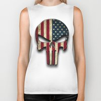 punisher Biker Tanks featuring American Punisher by OPFOR|Red