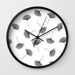 B&W Ginko Leaves Wall Clock