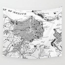 Vintage Map of Havana Cuba (1898) 2 BW Wall Tapestry