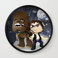 han solo Wall Clocks featuring Han Solo & Chewbacca by 7pk2 online