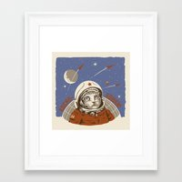 soviet Framed Art Prints featuring Soviet Space Cat by Chris Kawagiwa