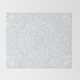 Minimal Minimalistic Light Cool Gray Mandala Throw Blanket