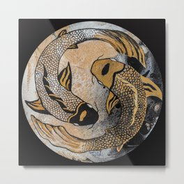 Golden Yin And Yang Metal Print