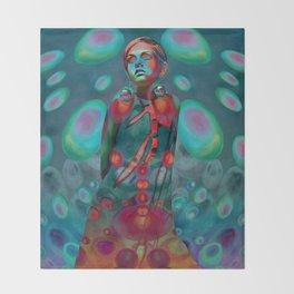 """Psychedelic Pop Fantasy"" (Twiggy) Throw Blanket"