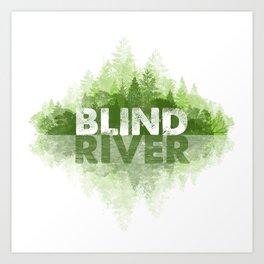 Blind River Trees (green) Art Print