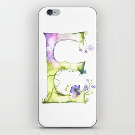 Letter E watercolor - Watercolor Monogram - Watercolor typography - Floral lettering iPhone Skin