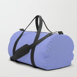 Cobalt Blue and White Horizontal Thin Pinstripe Pattern Duffle Bag