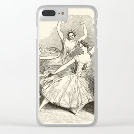 1845 Wood Engraving Print of Female Ballet Dancers Clear iPhone Case