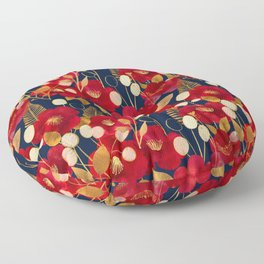 Moody floral camellias and honesty Floor Pillow
