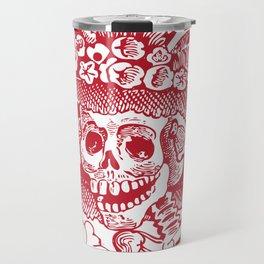 Calavera Catrina   Skeleton Woman   Red and White   Travel Mug