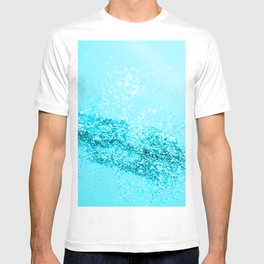 Aqua Blue Glitter #1 #shiny #decor #art #society6 T-shirt