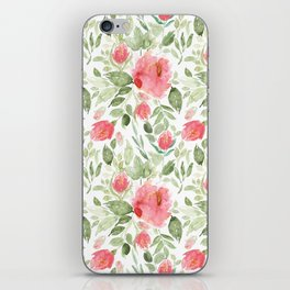 Painted Watercolour Garden Red Roses iPhone Skin