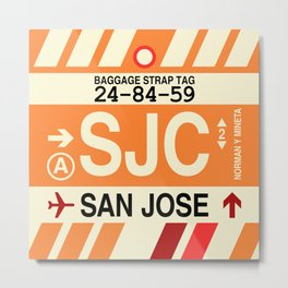 SJC San Jose • Airport Code and Vintage Baggage Tag Design Metal Print