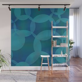 Abstract soap of blue molecules and bubbles on a water background. Wall Mural