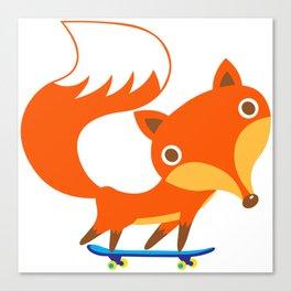 Fox loves skateboard Canvas Print