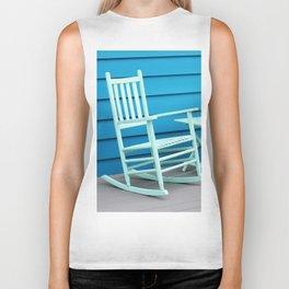 Coastal Beach House Art - Blue Rocking Chair - Sharon Cummings Biker Tank