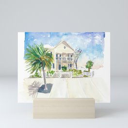 Pastel Colored Conch Houses in Whitehead Street Key West Mini Art Print