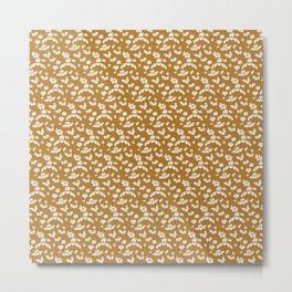 Golden Floral Metal Print