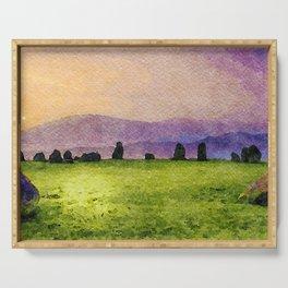 Sunrise at Castlerigg Stone Circle, Keswick, Lake District, Uk. Watercolour Painting Serving Tray