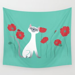 Siamese & Poppies Wall Tapestry