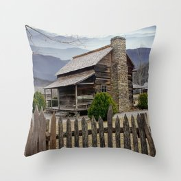 Appalachian Mountain Cabin Throw Pillow