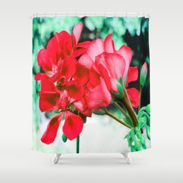 Red FlowERS Green Bokeh Shower Curtain