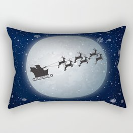 Santa Claus on sleigh 4k New Years Eve background with santa claus moon christmas eve christmas deco Rectangular Pillow