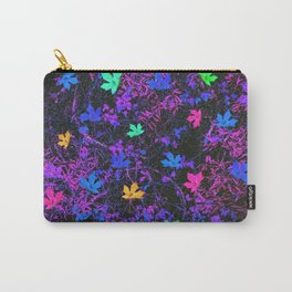 colorful maple leaf with purple and blue creepers plants background Carry-All Pouch