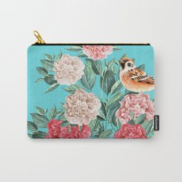 Bird in Turquoise Carry-All Pouch