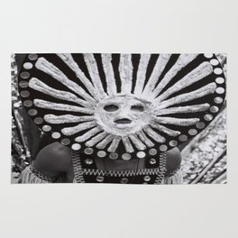 carnival mask Costume man black and white photograph Rug