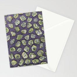 Olivine rare jewels on black stone texture Stationery Cards