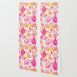 Tropical Toucans – Pink & Melon Ombré Wallpaper