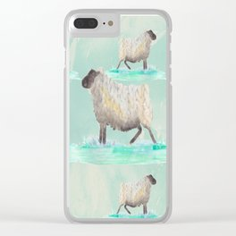 sheep mint pattern Clear iPhone Case