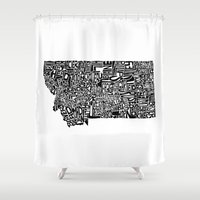 montana Shower Curtains featuring Typographic Montana by CAPow!