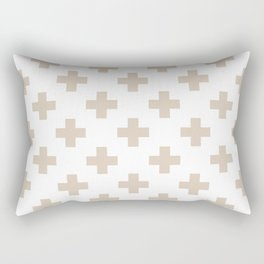 Beige Plus Sign Pattern Rectangular Pillow