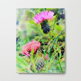 Thistledous- photowatercolor Metal Print